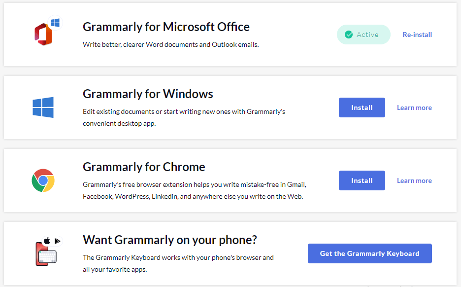 Apps where People can use Grammarly