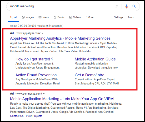 Example of Google Search Ad