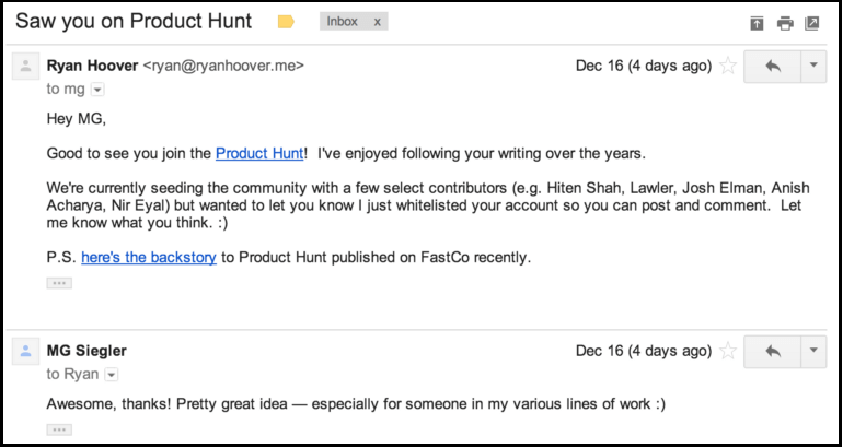 Ryan Hoover Connecting with Influencers in early Product Hunt days