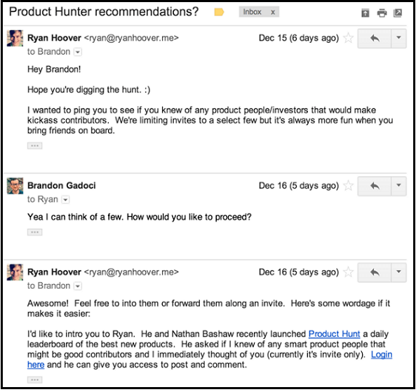 Ryan Hoover asking for Recommendations in early Product Hunt days