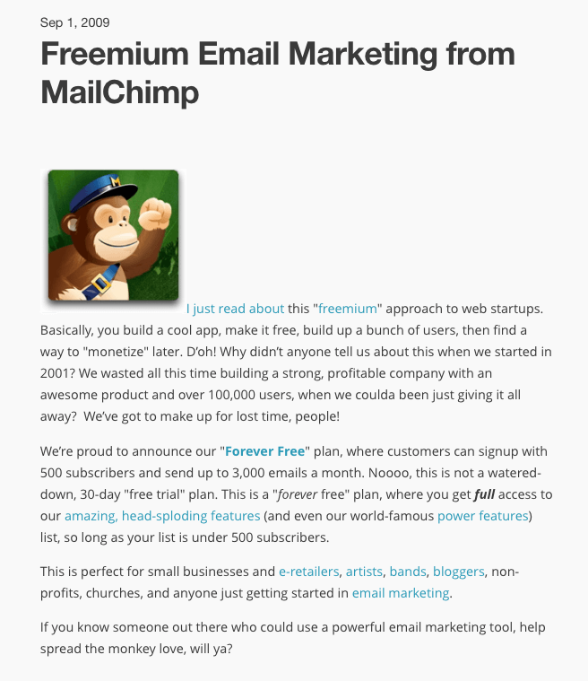 Announcement Blog Post of Mailchimp's 'Forever Free' Plan