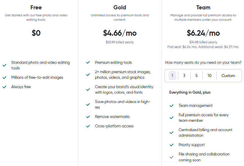 Pricing for Figma's Free, Gold & Team plans