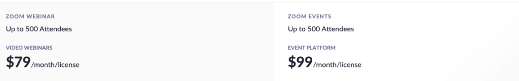 Zoom Events & Webinar Pricing for up to 500 attendees